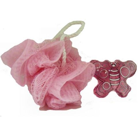 Pink Bath Gel & Scrunchie - BUTTERFLY